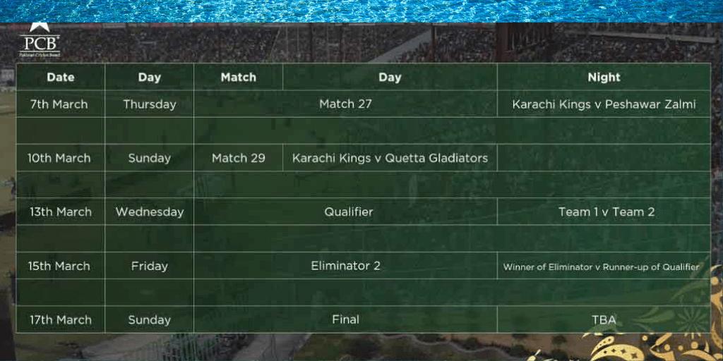 PSL Schedule Karachi Final