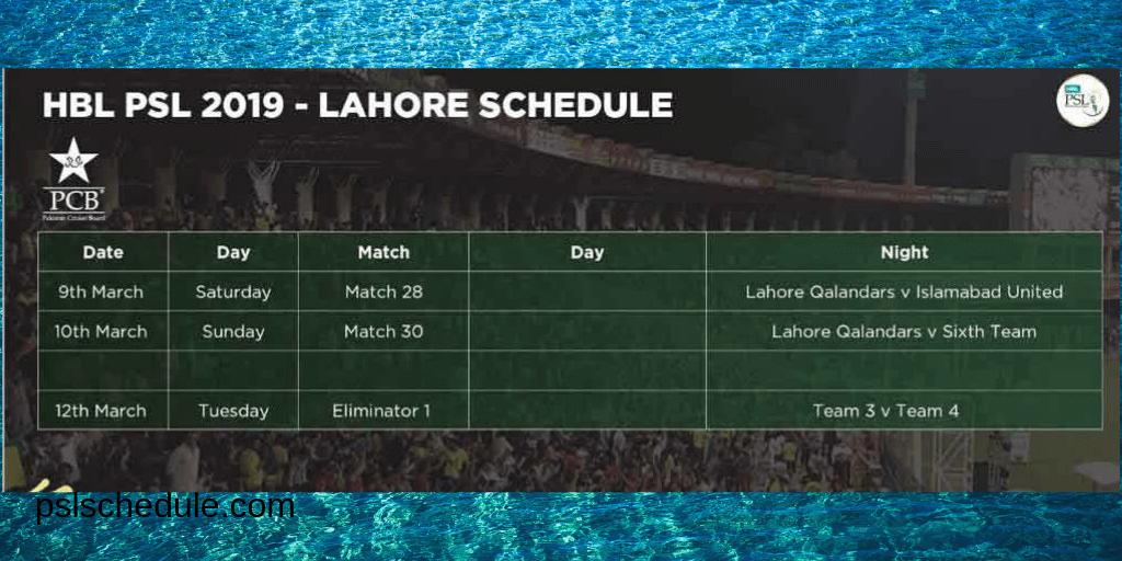 psl lahore schedule